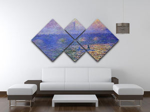 Waterloo Bridge by Monet 4 Square Multi Panel Canvas - Canvas Art Rocks - 3