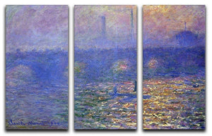 Waterloo Bridge by Monet Split Panel Canvas Print - Canvas Art Rocks - 4