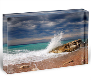 Wave crash on the stone Acrylic Block - Canvas Art Rocks - 1