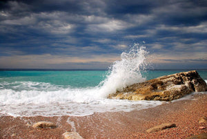 Wave crash on the stone Wall Mural Wallpaper - Canvas Art Rocks - 1