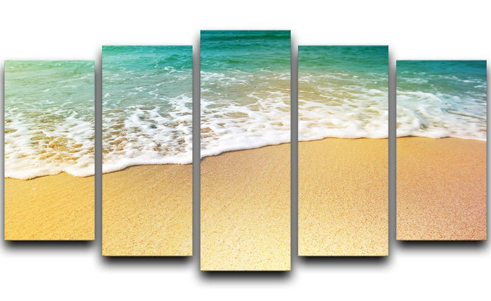 Wave of sea water and sand 5 Split Panel Canvas