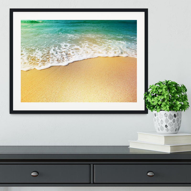 Wave of sea water and sand Framed Print - Canvas Art Rocks - 1