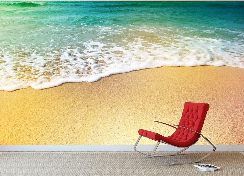 Wave of sea water and sand Wall Mural Wallpaper - Canvas Art Rocks - 1