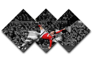 Wayne Rooney Bicycle Kick 4 Square Multi Panel Canvas  - Canvas Art Rocks - 1