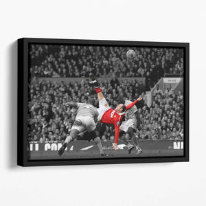 Wayne Rooney Bicycle Kick Floating Framed Canvas