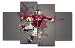 Wayne Rooney Paint Splatter 4 Split Panel Canvas  - Canvas Art Rocks - 1