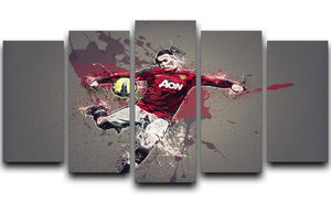 Wayne Rooney Paint Splatter 5 Split Panel Canvas  - Canvas Art Rocks - 1