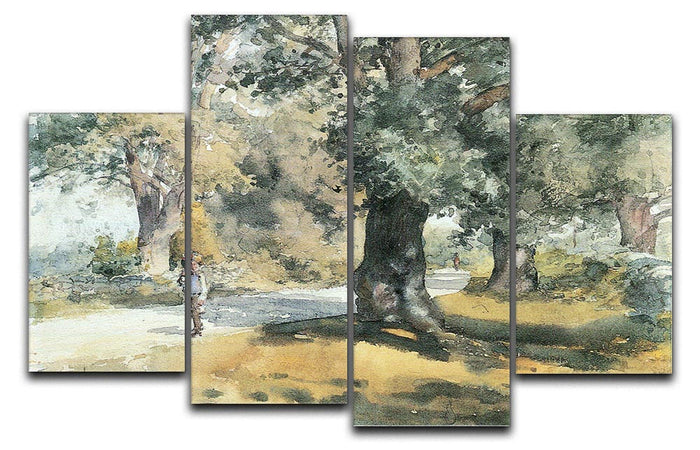 Wayside Inn Mass by Hassam 4 Split Panel Canvas
