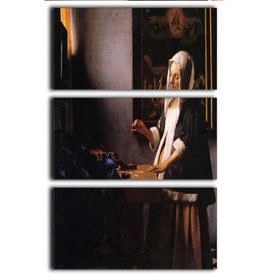 Weights by Vermeer 3 Split Panel Canvas Print - Canvas Art Rocks - 1