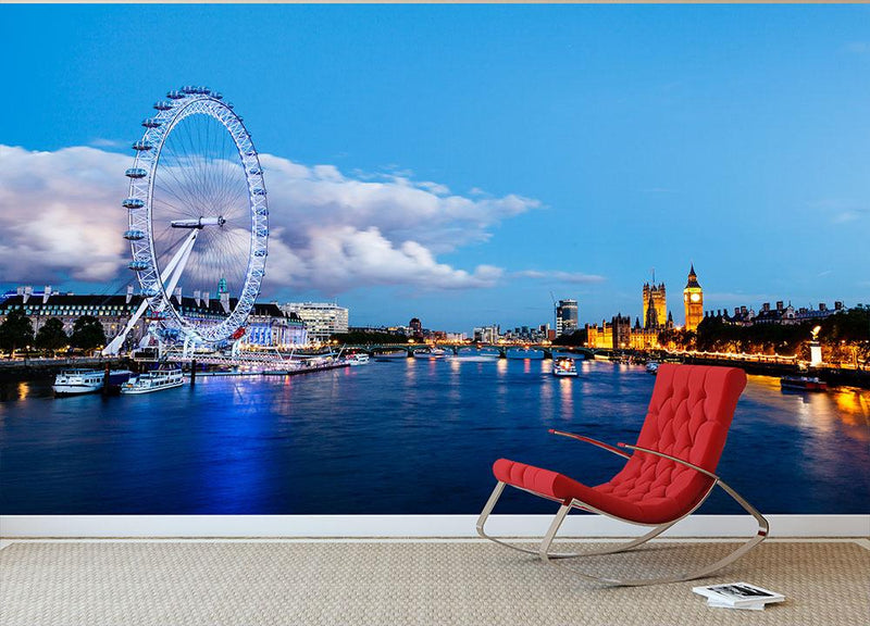 Westminster Bridge and Big Ben in the Evening Wall Mural Wallpaper - Canvas Art Rocks - 1
