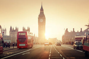 Westminster Bridge at sunset red bus Wall Mural Wallpaper - Canvas Art Rocks - 1