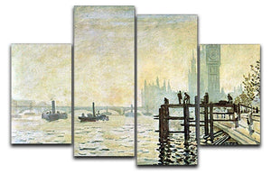 Westminster Bridge in London by Monet 4 Split Panel Canvas  - Canvas Art Rocks - 1