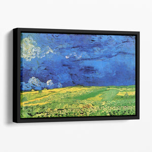 Wheat Field Under Clouded Sky by Van Gogh Floating Framed Canvas