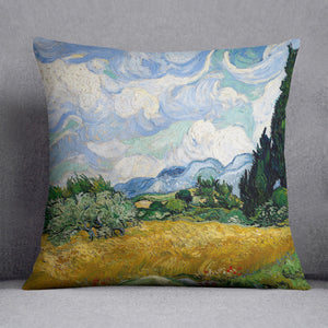 Wheat Field with Cypresses Cushion