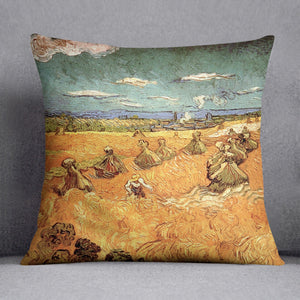 Wheat Stacks with Reaper by Van Gogh Cushion