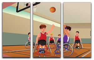Wheelchairs playing basketball 3 Split Panel Canvas Print - Canvas Art Rocks - 1