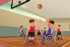 Wheelchairs playing basketball Wall Mural Wallpaper - Canvas Art Rocks - 1