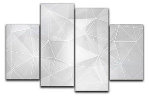 White Geometric Triangles 4 Split Panel Canvas - Canvas Art Rocks - 1