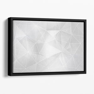 White Geometric Triangles Floating Framed Canvas - Canvas Art Rocks - 1