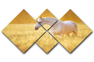 White Orlov trotter horse in rye 4 Square Multi Panel Canvas - Canvas Art Rocks - 1