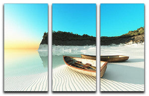 White Sand Boats 3 Split Panel Canvas Print - Canvas Art Rocks - 1