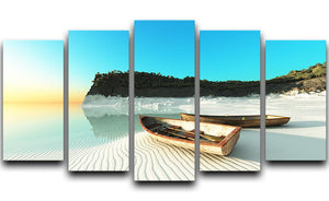 White Sand Boats 5 Split Panel Canvas - Canvas Art Rocks - 1