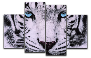 White Tiger Face 4 Split Panel Canvas - Canvas Art Rocks - 1