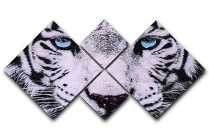 White Tiger Face 4 Square Multi Panel Canvas - Canvas Art Rocks - 1