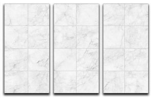 White Tiled Marble 3 Split Panel Canvas Print - Canvas Art Rocks - 1