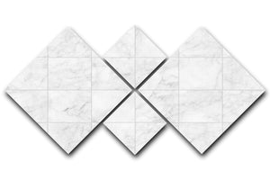 White Tiled Marble 4 Square Multi Panel Canvas - Canvas Art Rocks - 1