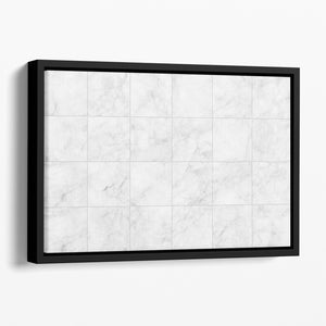 White Tiled Marble Floating Framed Canvas - Canvas Art Rocks - 1