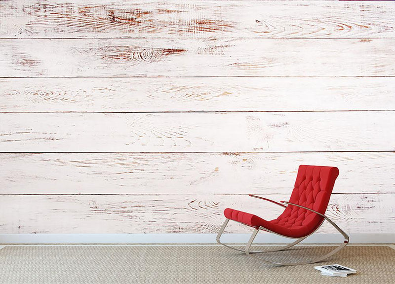 White and brown rustic Wall Mural Wallpaper - Canvas Art Rocks - 1