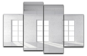 White brick loft with window 4 Split Panel Canvas - Canvas Art Rocks - 1