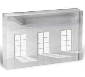 White brick loft with window Acrylic Block - Canvas Art Rocks - 1