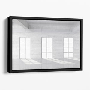 White brick loft with window Floating Framed Canvas - Canvas Art Rocks - 1