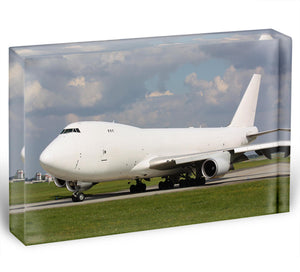 White cargo plane taxi Acrylic Block - Canvas Art Rocks - 1