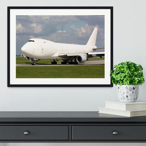 White cargo plane taxi Framed Print - Canvas Art Rocks - 1