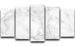 White gray marble patterned 5 Split Panel Canvas - Canvas Art Rocks - 1