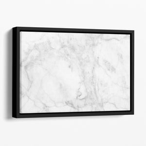 White gray marble patterned Floating Framed Canvas - Canvas Art Rocks - 1