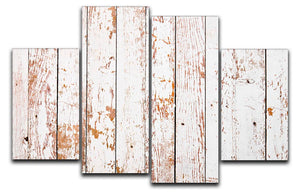 White grunge wooden 4 Split Panel Canvas - Canvas Art Rocks - 1