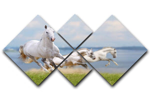 White horses running near water 4 Square Multi Panel Canvas - Canvas Art Rocks - 1