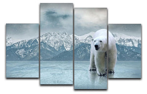 White polar bear on the ice 4 Split Panel Canvas - Canvas Art Rocks - 1