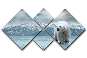 White polar bear on the ice 4 Square Multi Panel Canvas - Canvas Art Rocks - 1