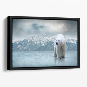 White polar bear on the ice Floating Framed Canvas - Canvas Art Rocks - 1