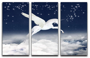 White unicorn flying in the sky 3 Split Panel Canvas Print - Canvas Art Rocks - 1
