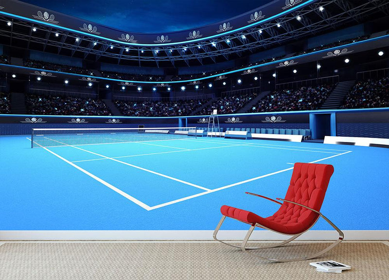 Whole tennis court Wall Mural Wallpaper - Canvas Art Rocks - 1