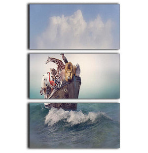 Wild Animals and Birds in an Old Boat 3 Split Panel Canvas Print - Canvas Art Rocks - 1