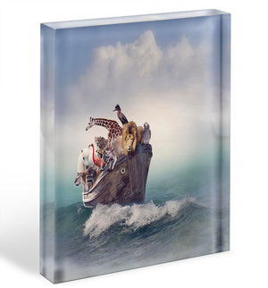 Wild Animals and Birds in an Old Boat Acrylic Block - Canvas Art Rocks - 1