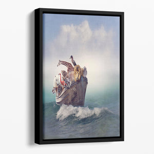 Wild Animals and Birds in an Old Boat Floating Framed Canvas - Canvas Art Rocks - 1