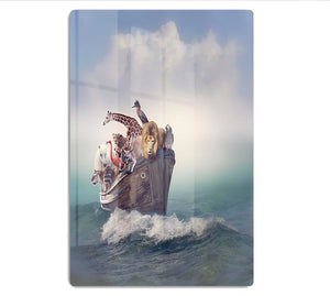 Wild Animals and Birds in an Old Boat HD Metal Print - Canvas Art Rocks - 1